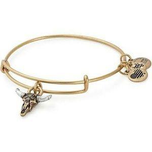 Alex & Ani Spirited Skull Rafaelian Gold Bracelet
